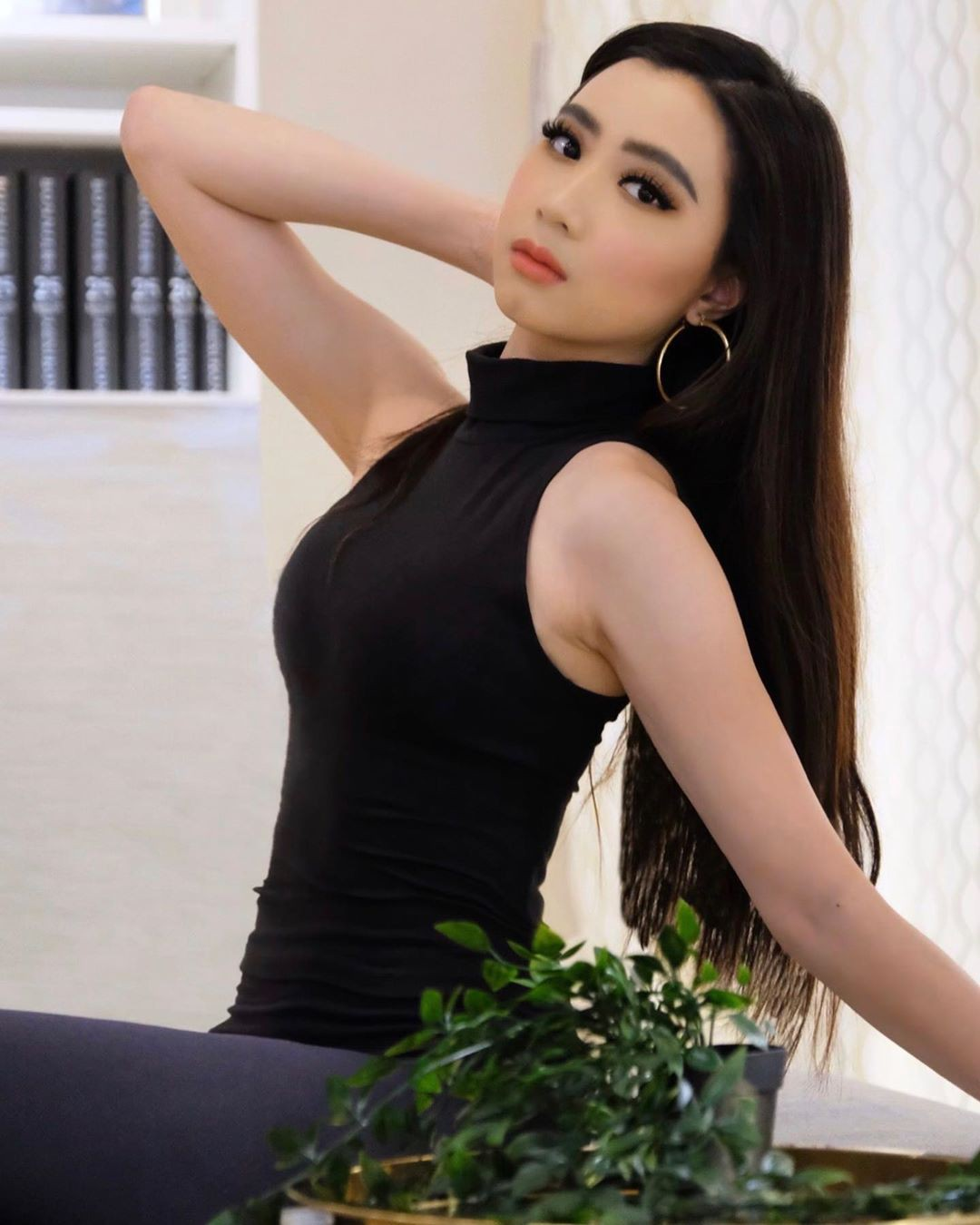 black colour outfit, you must try with dress, girls photoshoot, Black Hair Color