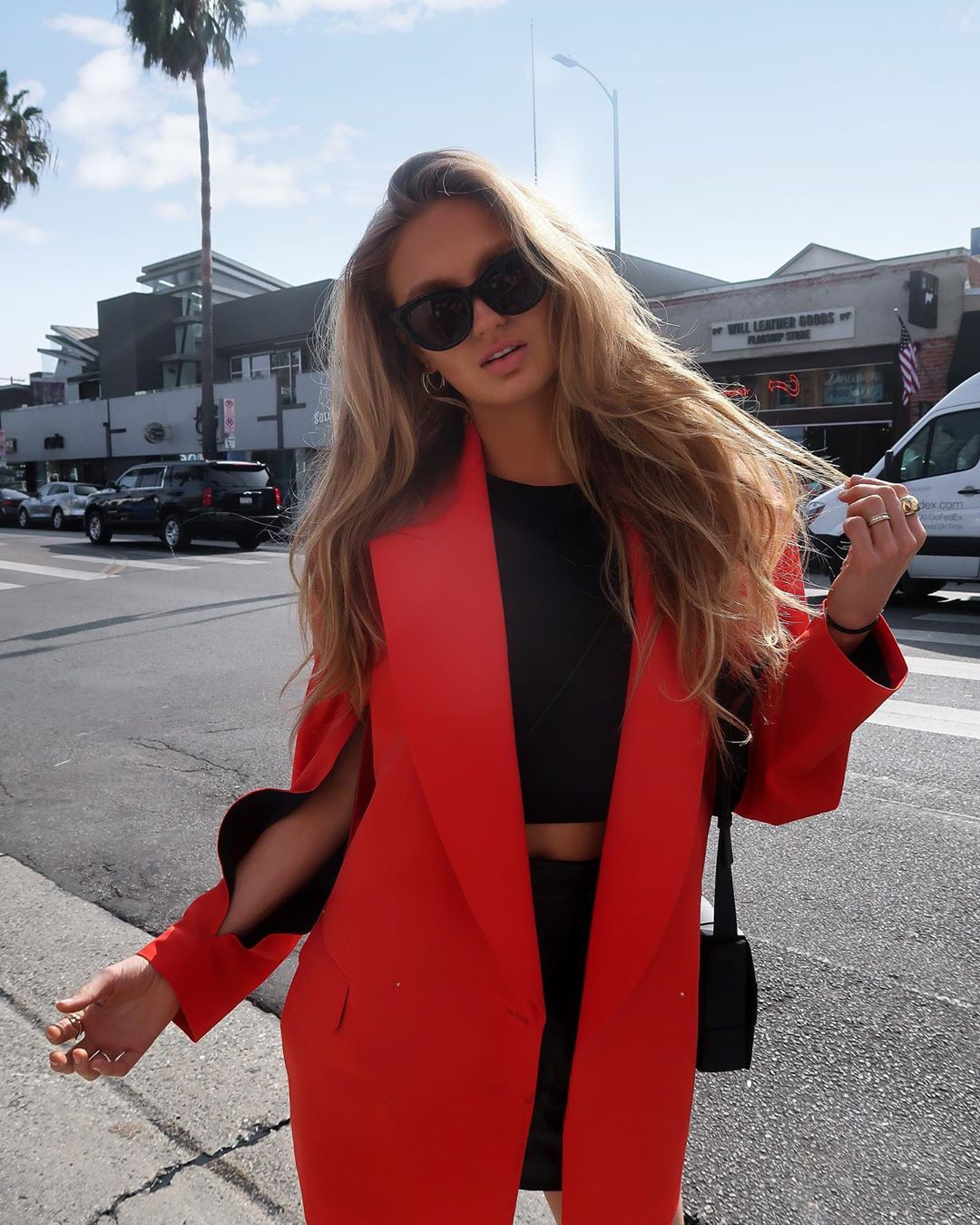 Romee Strijd blazer colour outfit, you must try, model photography, blond hairs