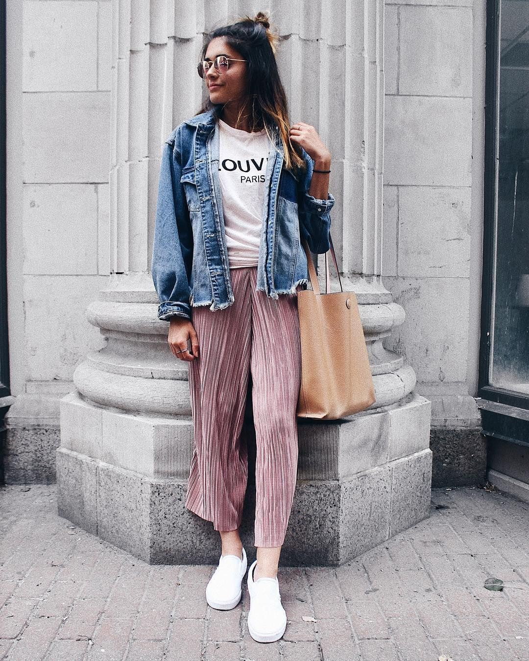 Pink colour outfit, you must try with jean jacket, trousers, shorts