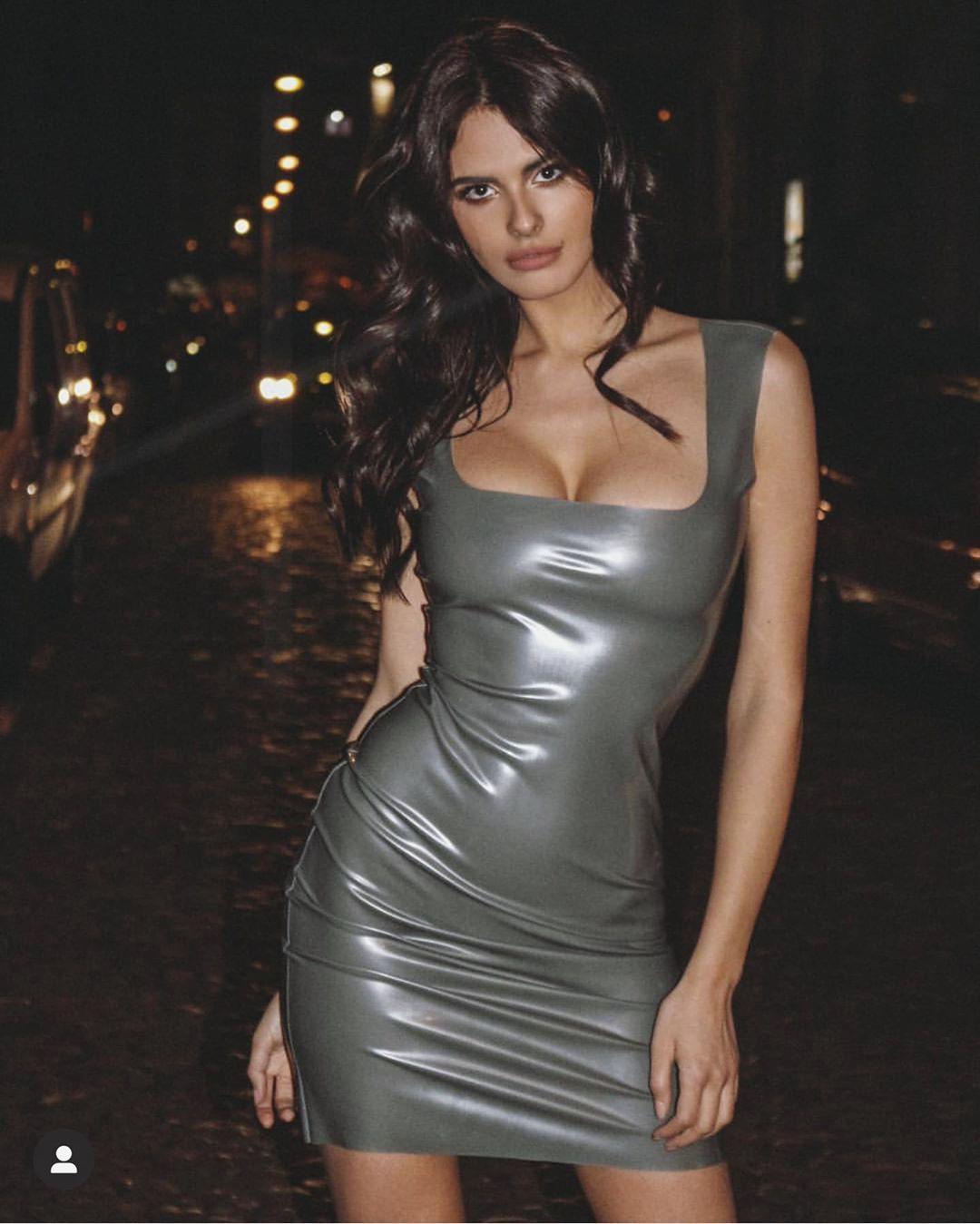 Bojana Krsmanovic dress latex clothing style outfit, hot legs