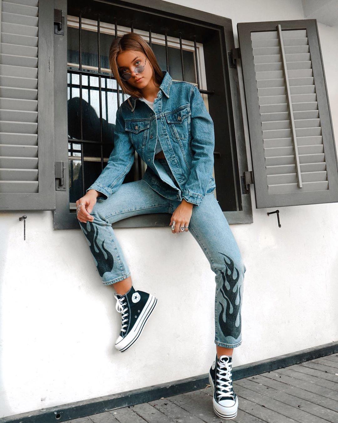 blue colour outfit with jacket, jeans, denim