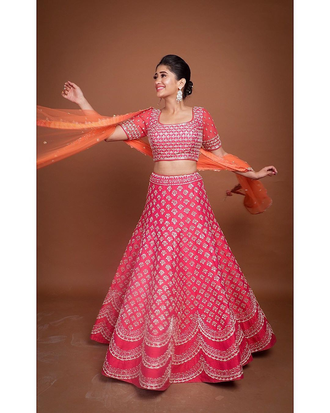 Magenta and orange dress formal wear, embroidery