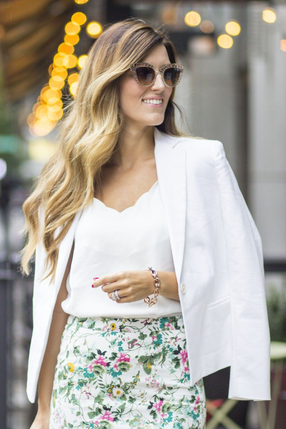 White trendy clothing ideas with blazer