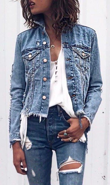 Denim destroyed edge jacket slim fit pants, casual wear