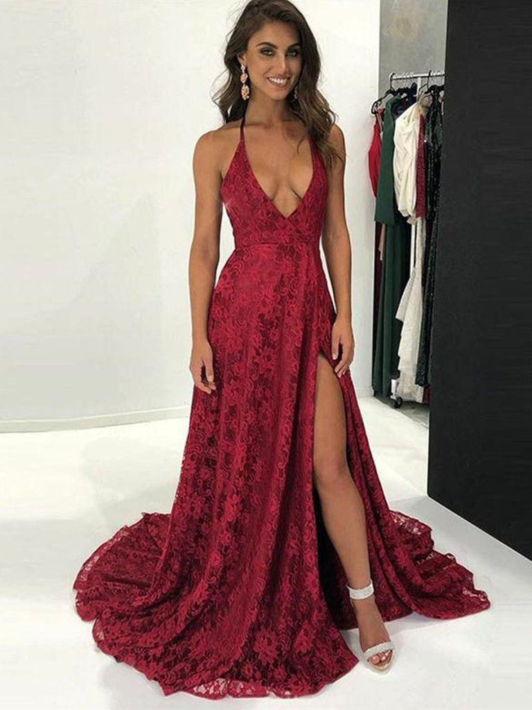 Lace burgundy prom dresses bridal party dress, spaghetti strap