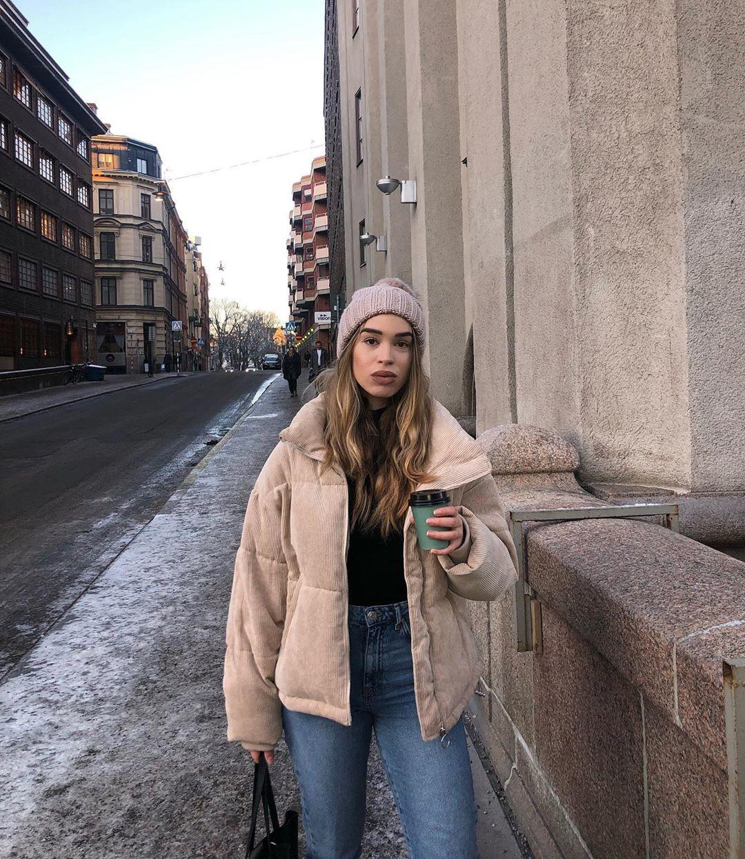 Isabelle Tounsi beanie, jeans, coat colour ideas