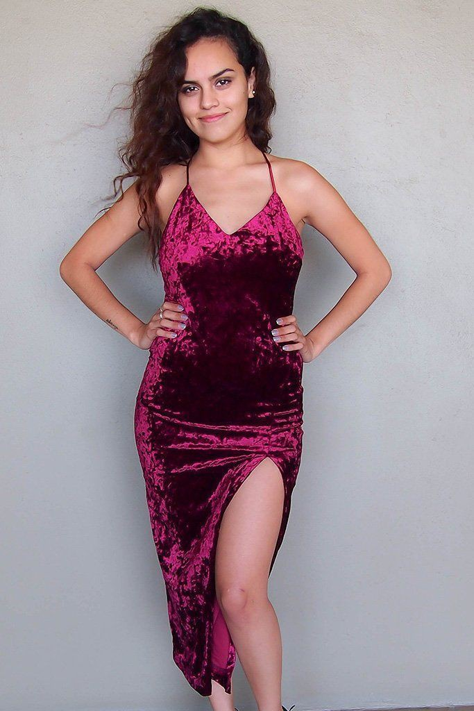 Magenta and purple cocktail dress, Cute Model Pics