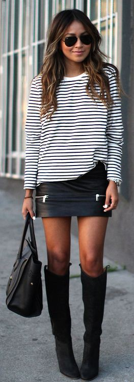 Colour outfit, you must try black skirt outfits, street fashion, leather skirt, pencil skirt, ca ...