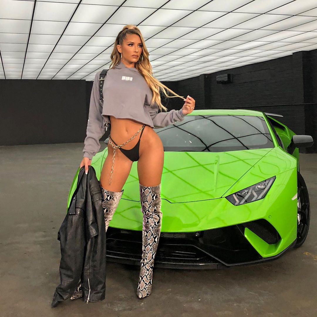 Sierra Skye hot legs picture, Hot Instagram Model, automotive exterior