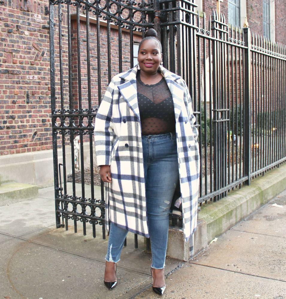 Lookbook fashion with jacket, tartan, denim
