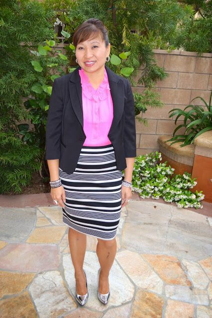 Pink outfit style with pencil skirt, formal wear, jacket