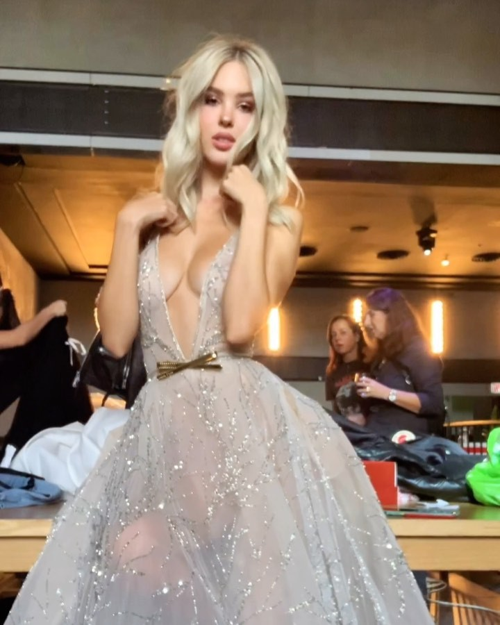 Maria Domark dress, gown outfit ideas, in blond hairs