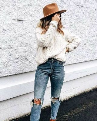 Style outfit style ivory sweater, street fashion, crew neck, t shirt