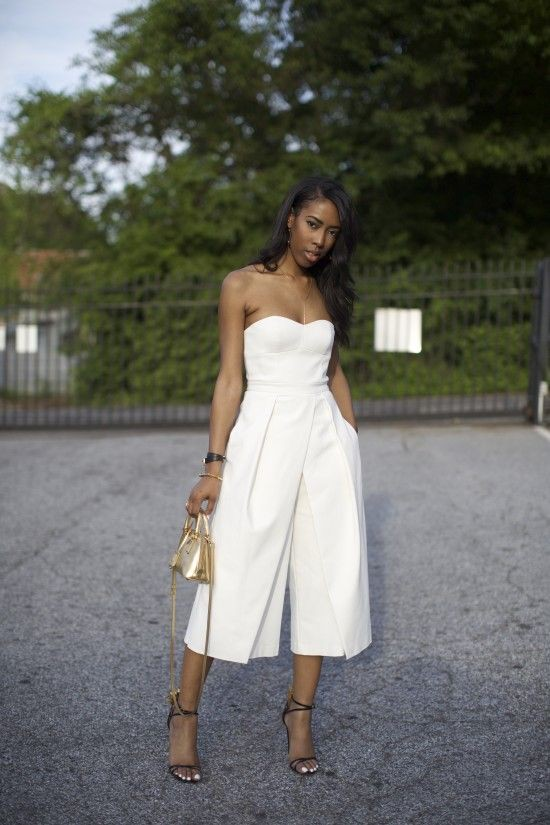 White strapless culotte jumpsuit high heeled shoe, strapless dress