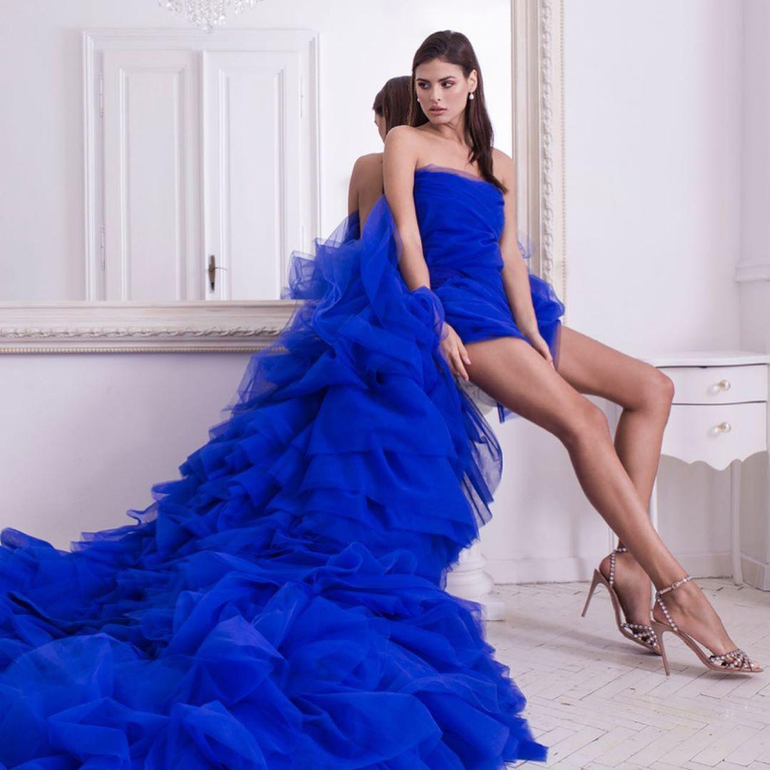 Cobalt blue and blue strapless dress, cocktail dress