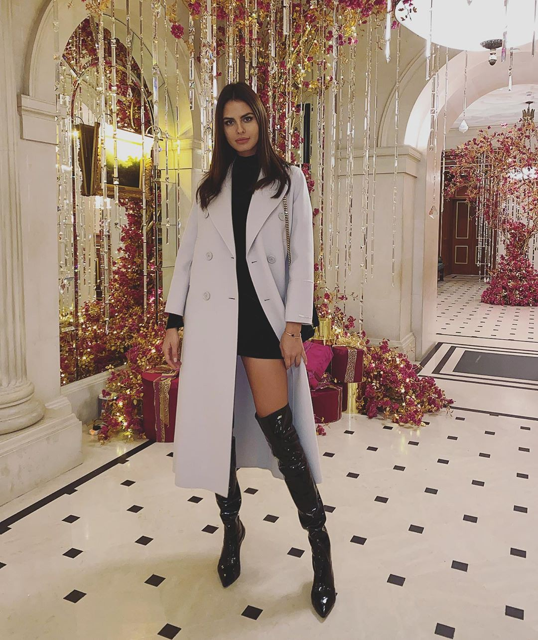 Bojana Krsmanovic knee-high boot, tights colour dress, hot legs girls
