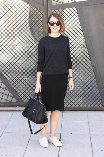 Black pencil skirt sneakers, street fashion, pencil skirt