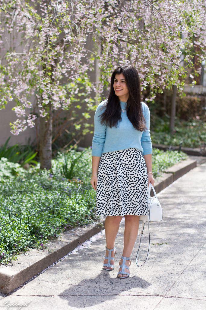 White instagram dress with polka dot, sweater, shorts