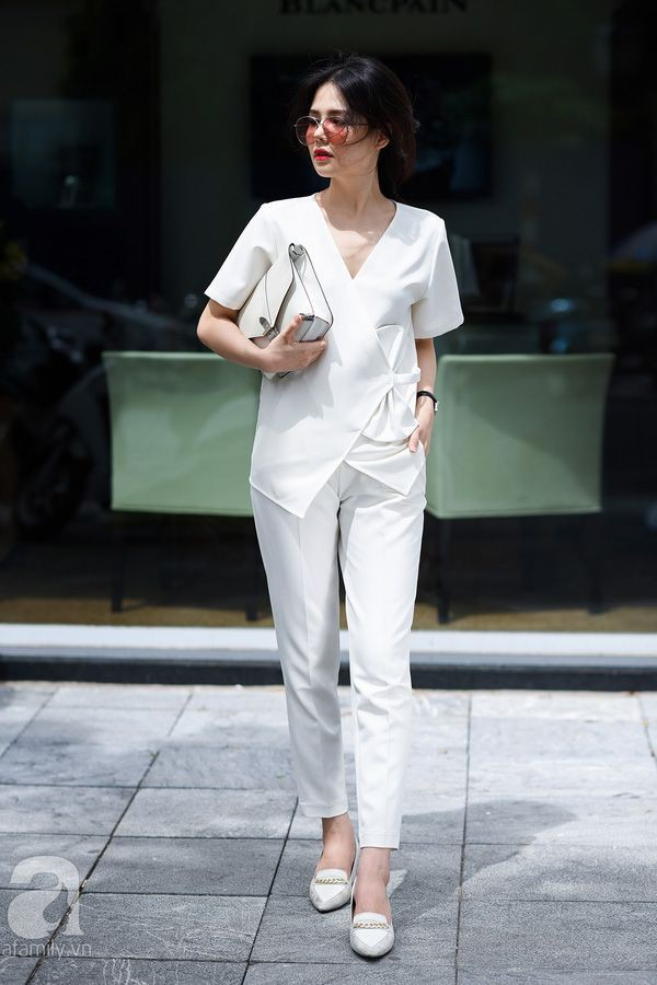 White outfit style with trousers, sweater, shirt