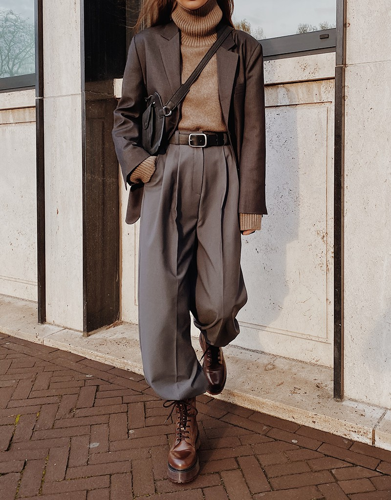 Brown colour outfit with trench coat, trousers, coat