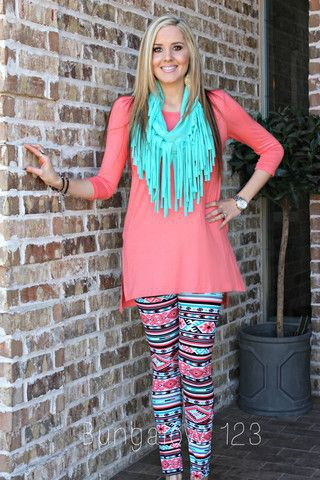 Turquoise and orange outfit ideas with trousers, leggings, tights