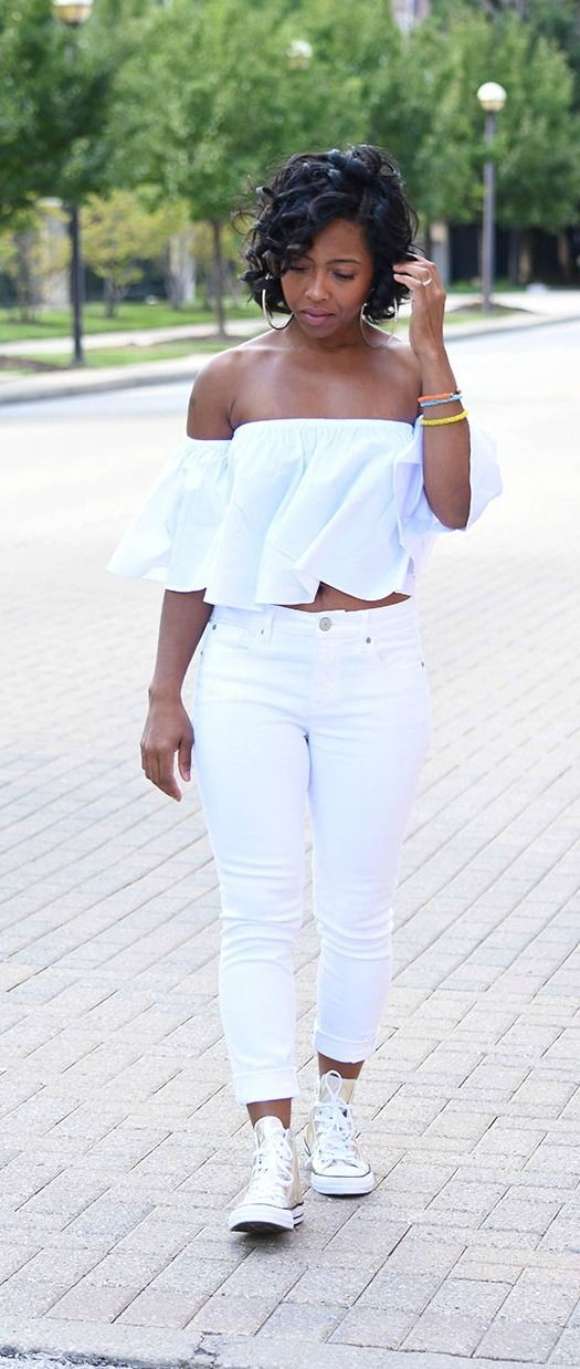 White colour dress with trousers, denim, jeans