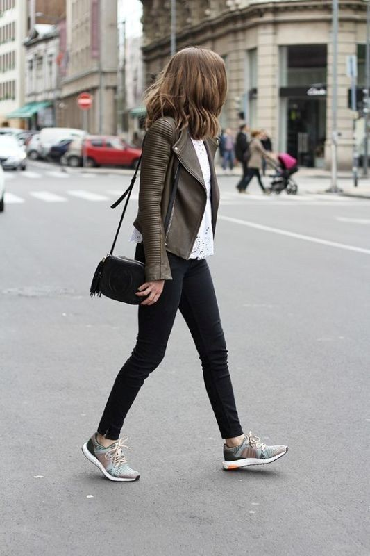 Gucci silver sneakers outfit, leather jacket, street fashion, sports shoes, casual wear