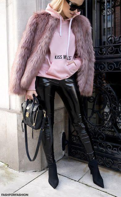 Leather leggings pink fur jacket