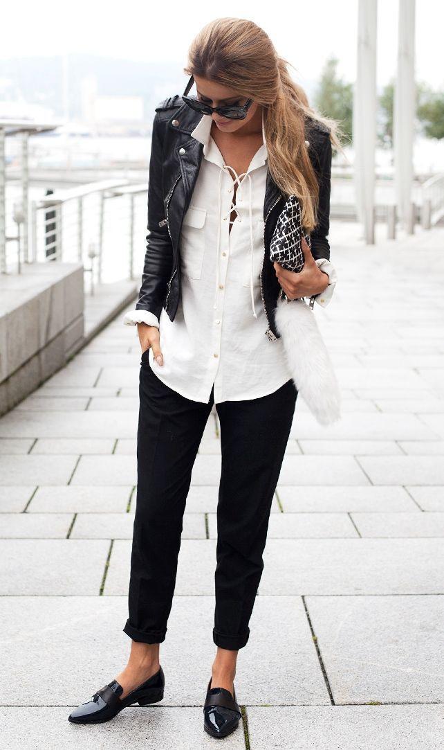 Black biker jacket outfit