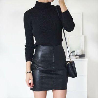 Attire black turtleneck outfit, minimalist fashion, leather skirt, pencil skirt, polo neck, t shirt
