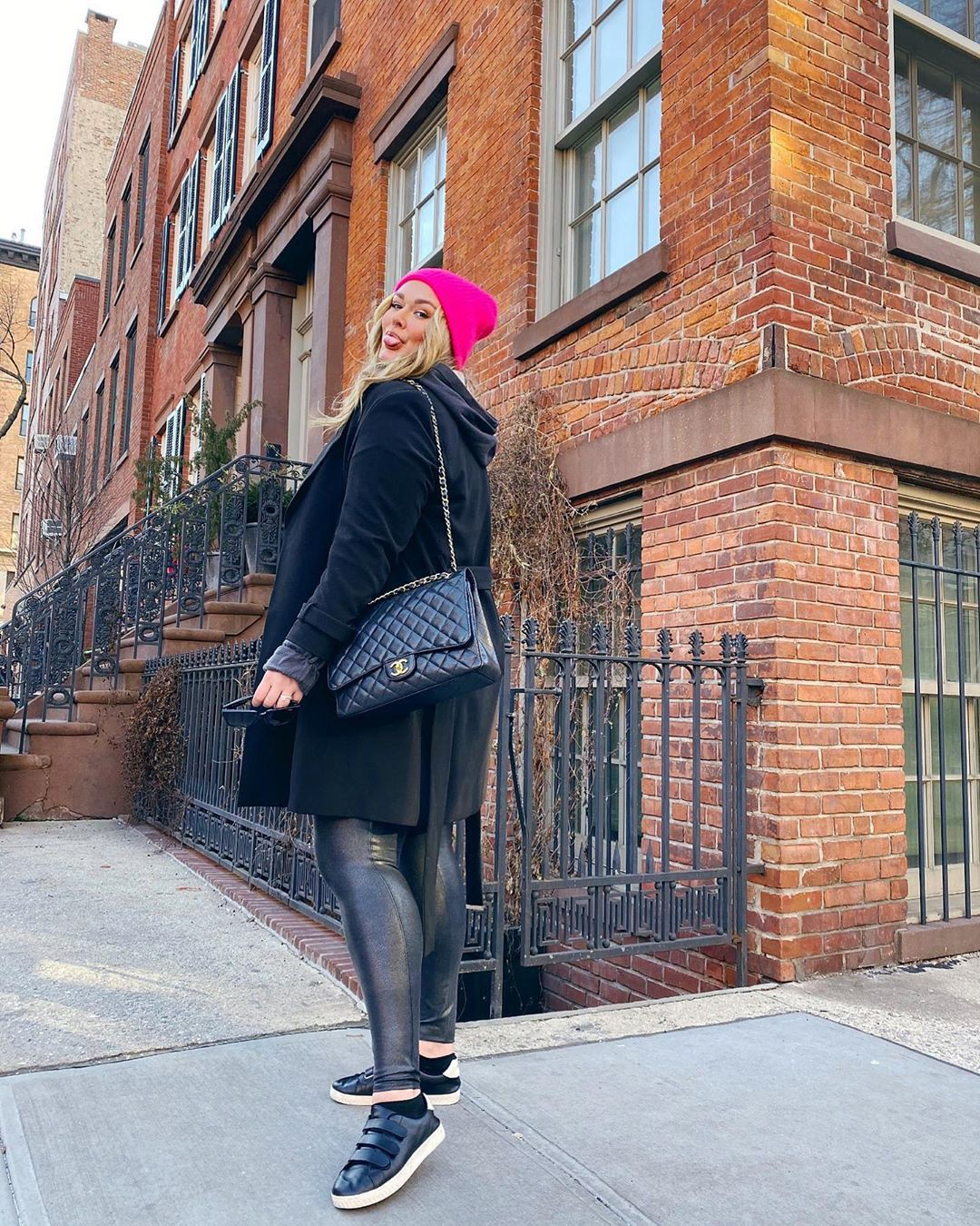 pink outfit pinterest with jacket, beanie, jeans
