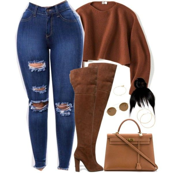 Brown outfit style with trousers, shorts, jeans