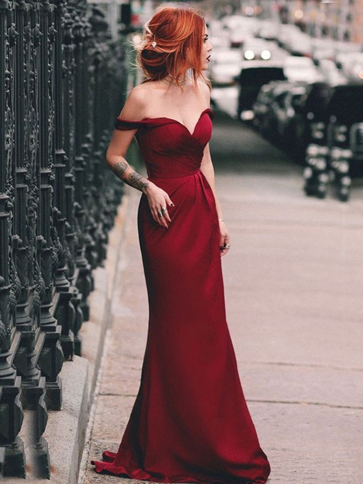 Elegant prom dresses off shoulder