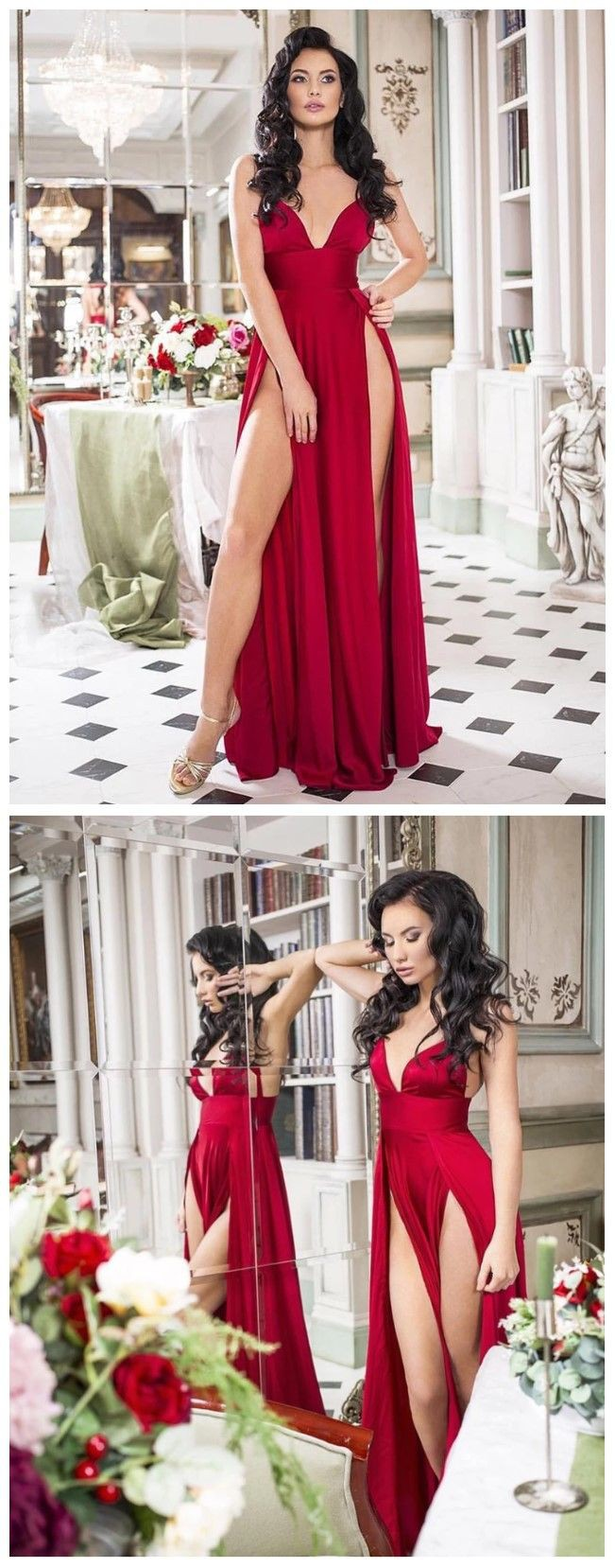 Pink and red fashion collection with cocktail dress, evening gown, gown, formal wear