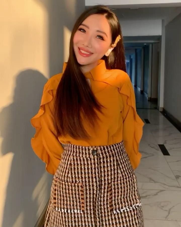 Yellow and orange dress, Long Hair Girl, Outerwear