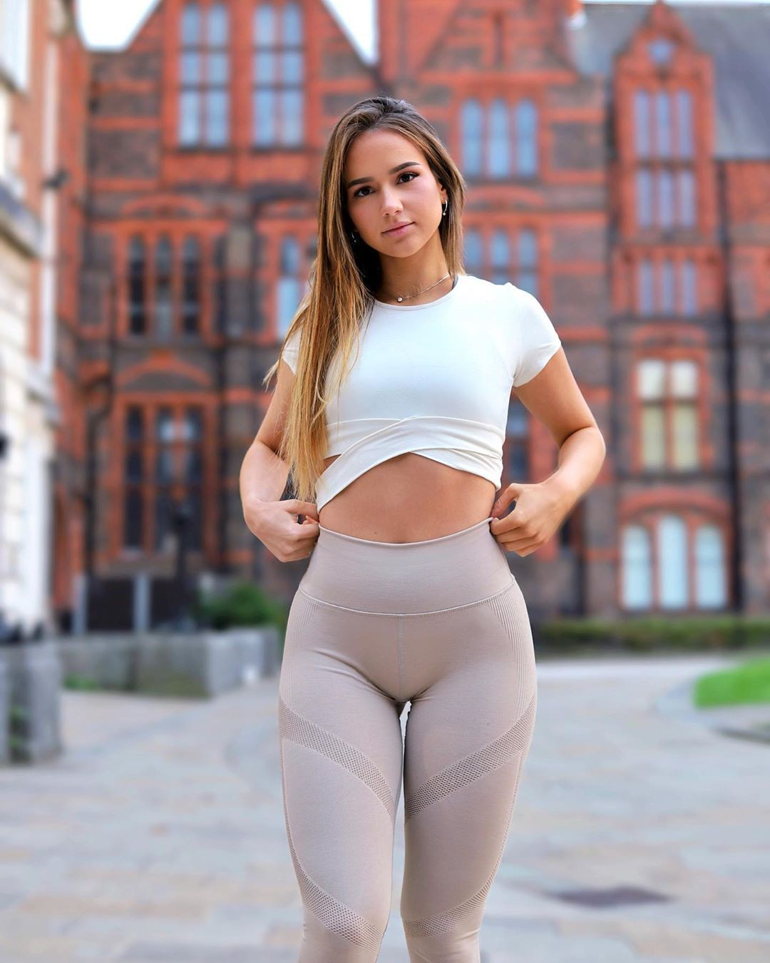 white outfits for women with active pants, sportswear, leggings