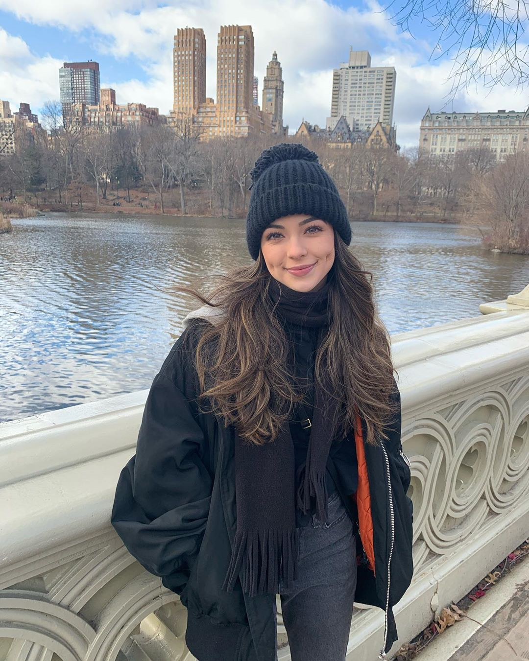 Vanessa Merrell beanie colour outfit, model photography, knit cap