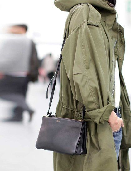 Oversized parka street style, fashion accessory, street fashion, messenger bag, t shirt