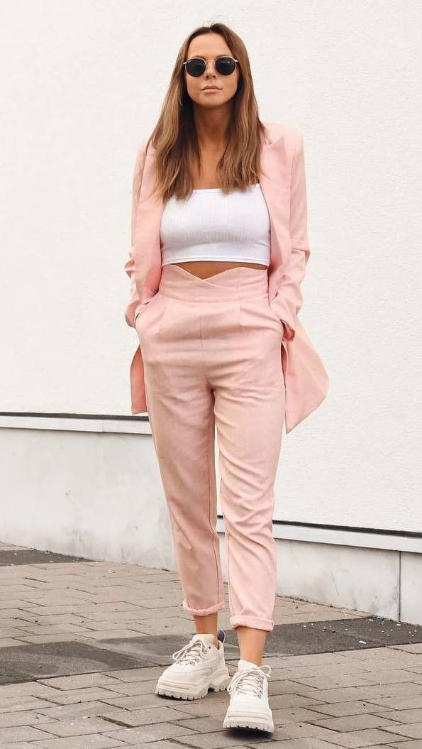 White and pink trendy clothing ideas with sportswear, sweatpant, crop top