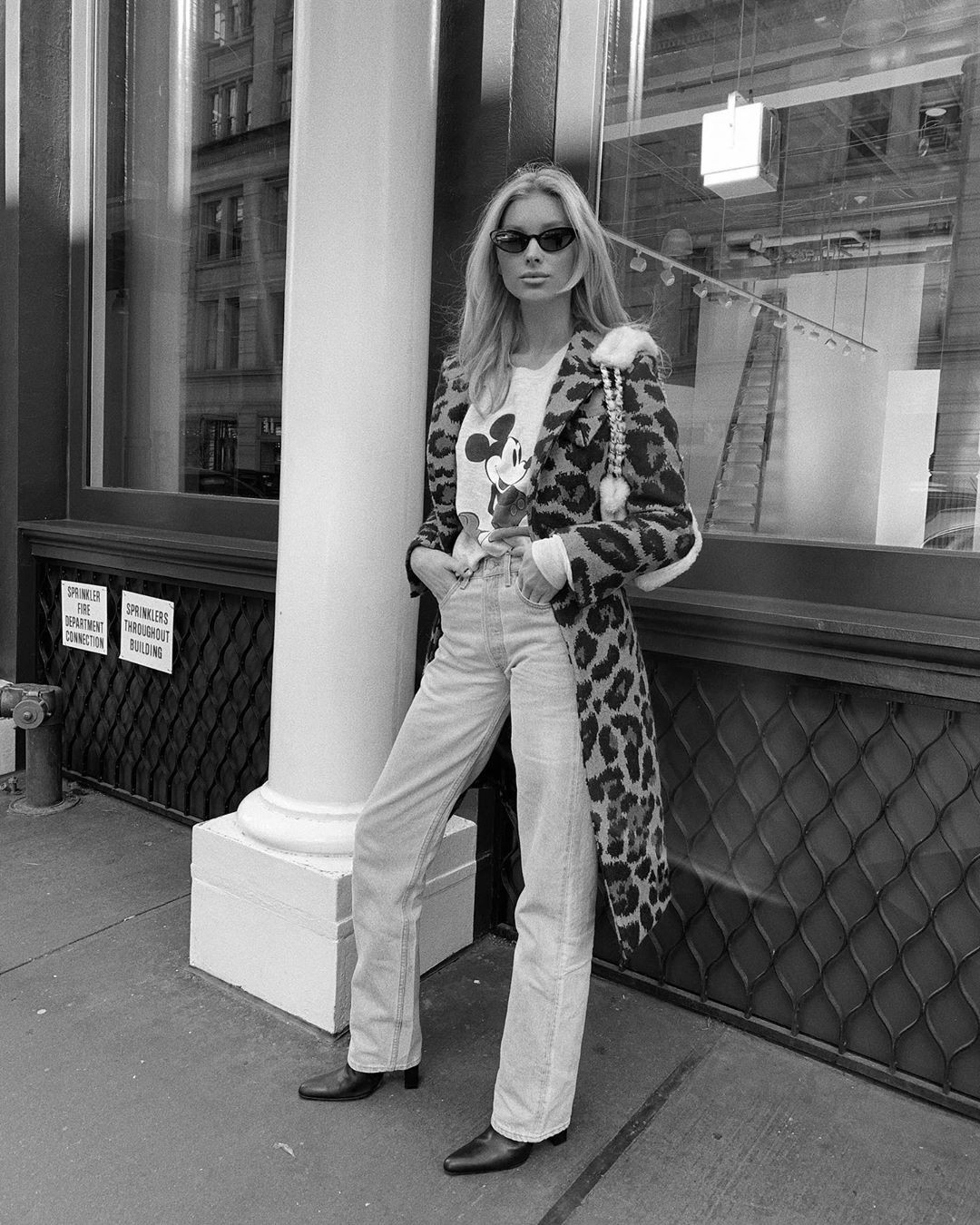 Elsa Hosk model photography, outfit ideas, black-and-white
