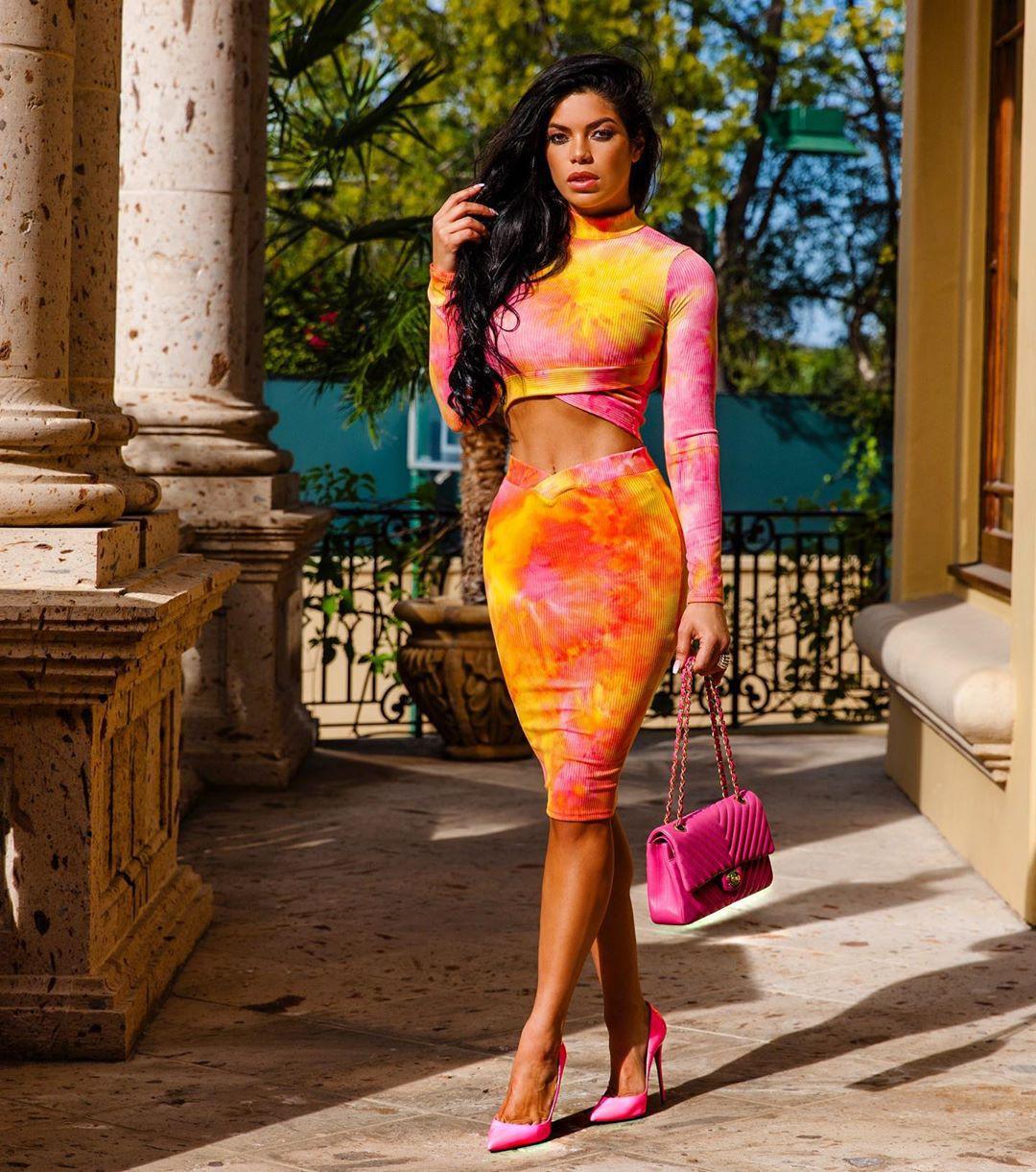 Magenta and yellow dress, costumes designs, fashion model