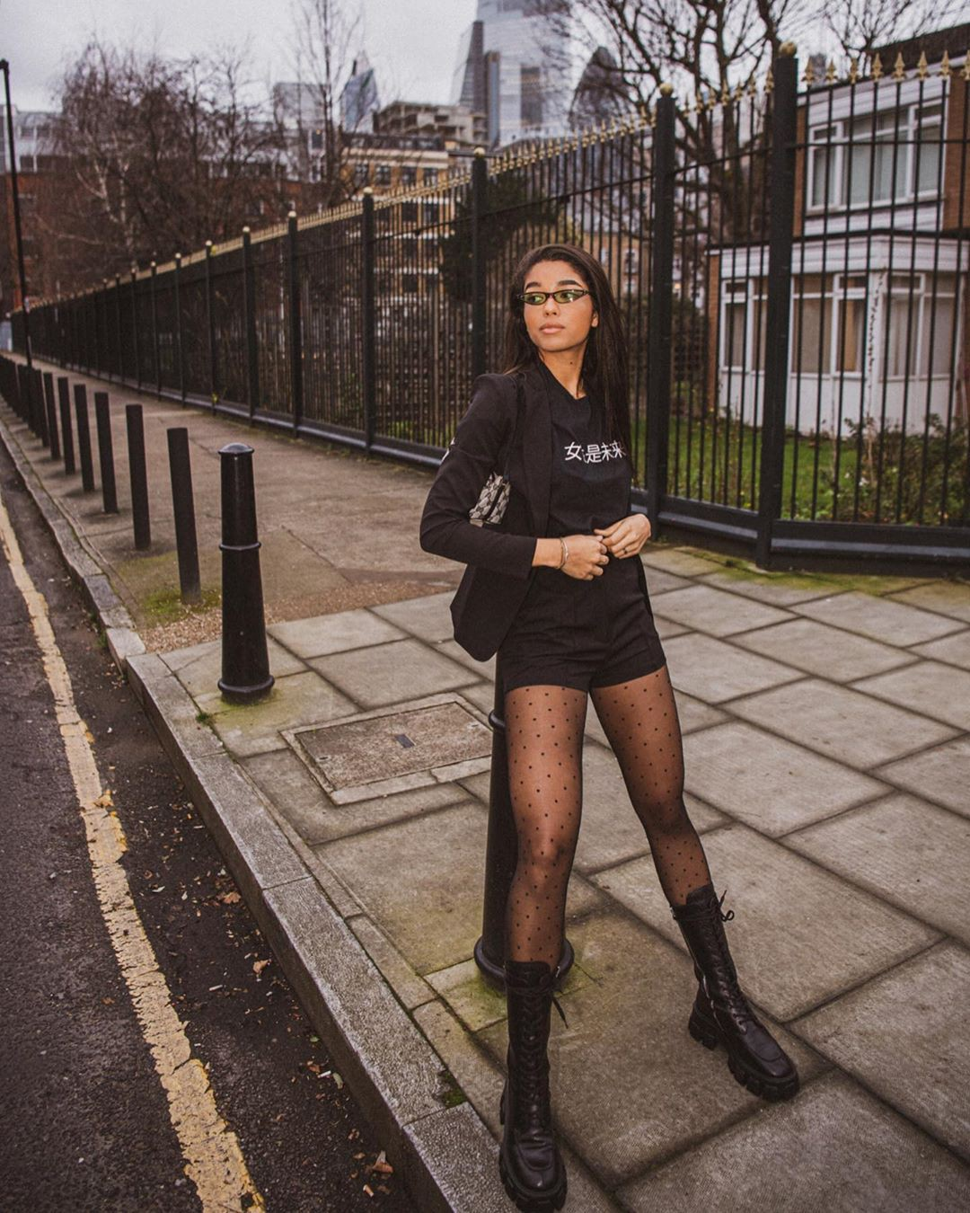 black colour outfit with tights, female thighs, hot legs photos