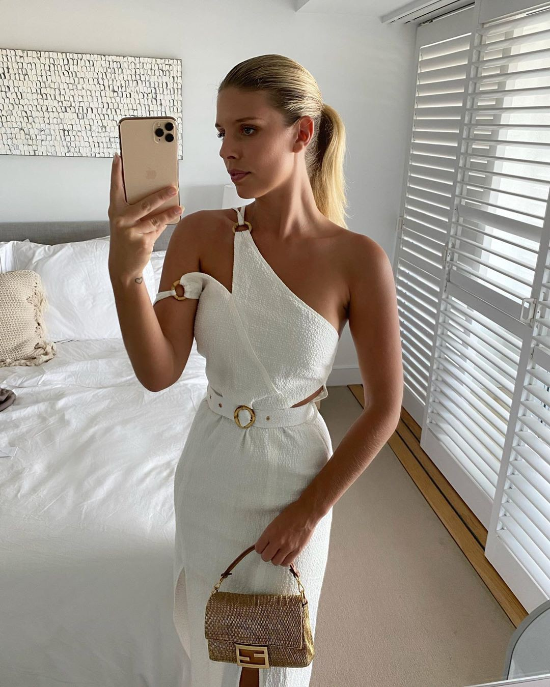 white designer outfit with cocktail dress, attire ideas