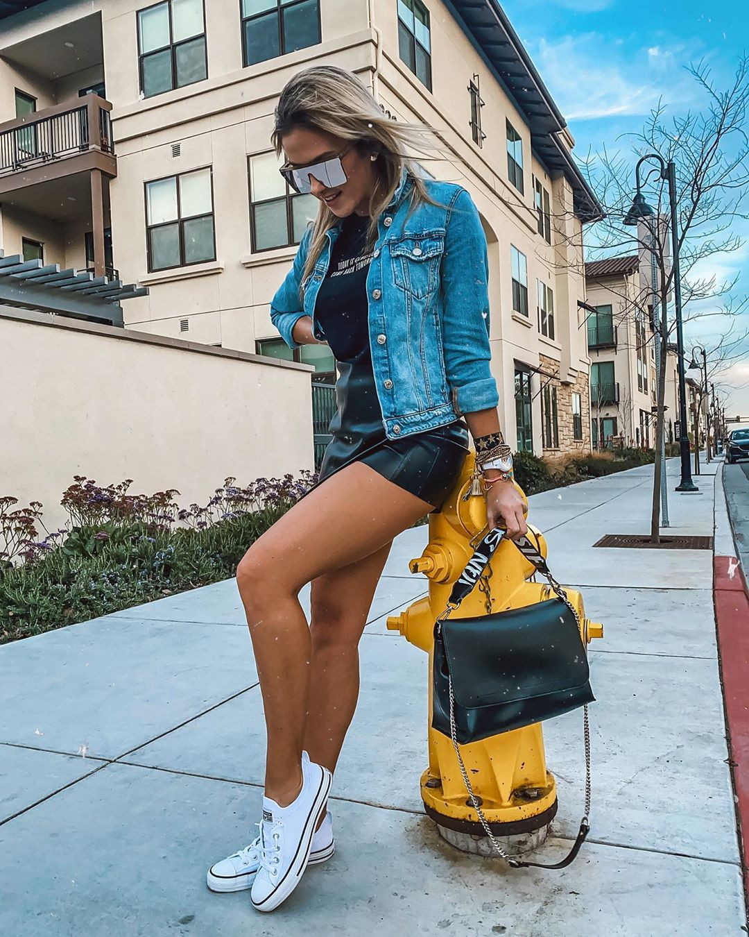 Electric blue and yellow jeans, denim, fashion photography