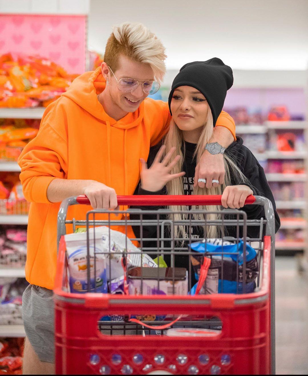 Zoe Laverne having fun, grocery store, shopping cart