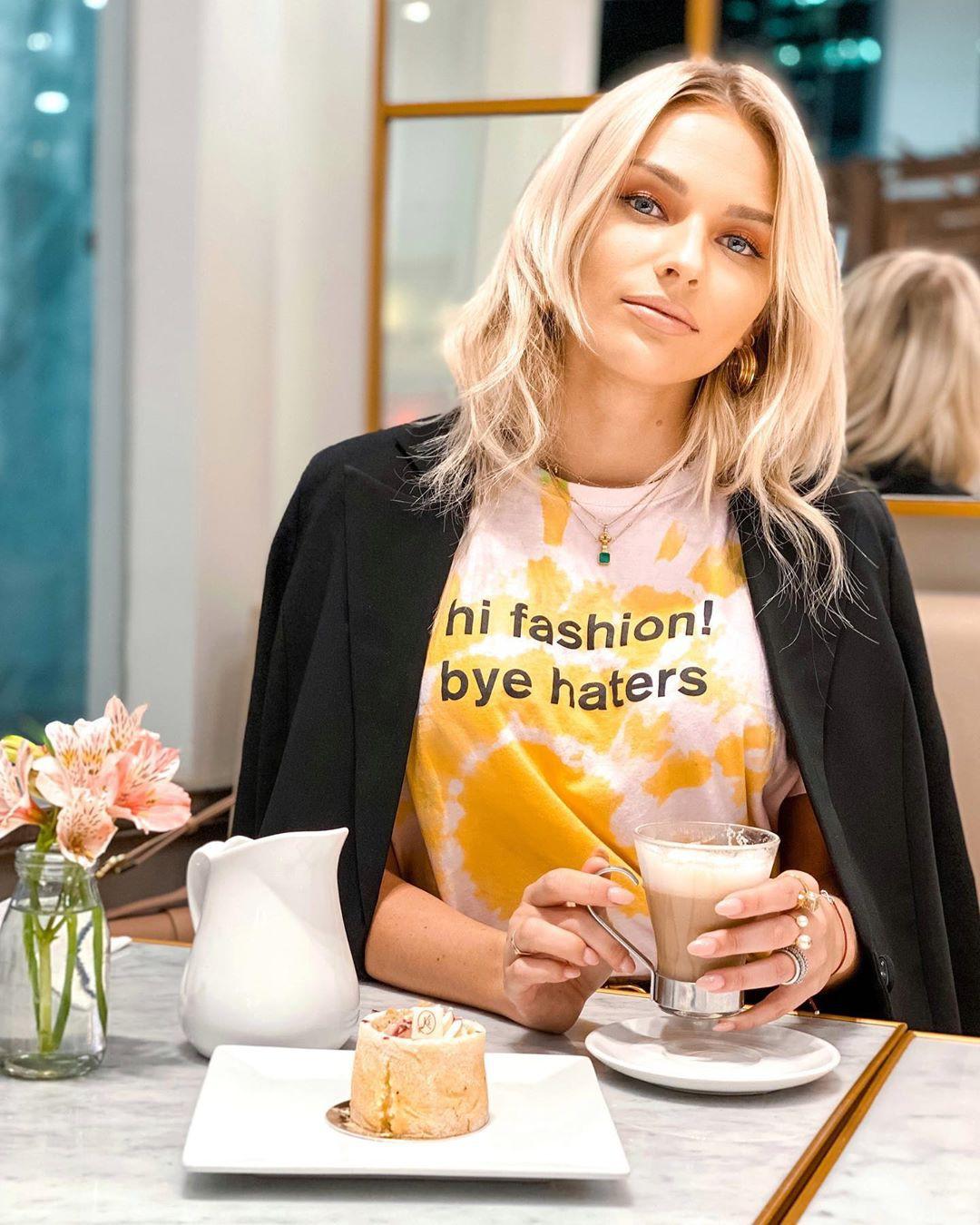 Irina Baeva natural blong hairs, costumes designs, outerwear