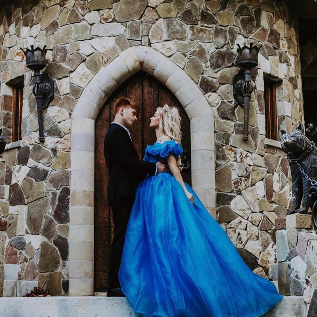 blue matching style with dress, gown, photography for girl