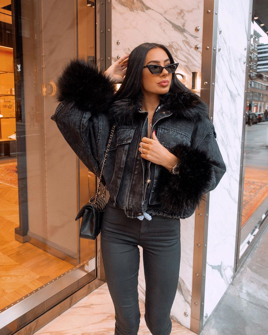 black colour outfit with leather fur clothing, leather, jacket