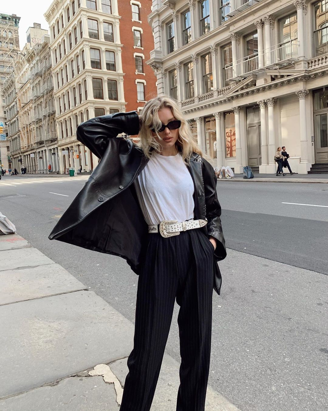 Elsa Hosk leather, coat, fur outfits for girls