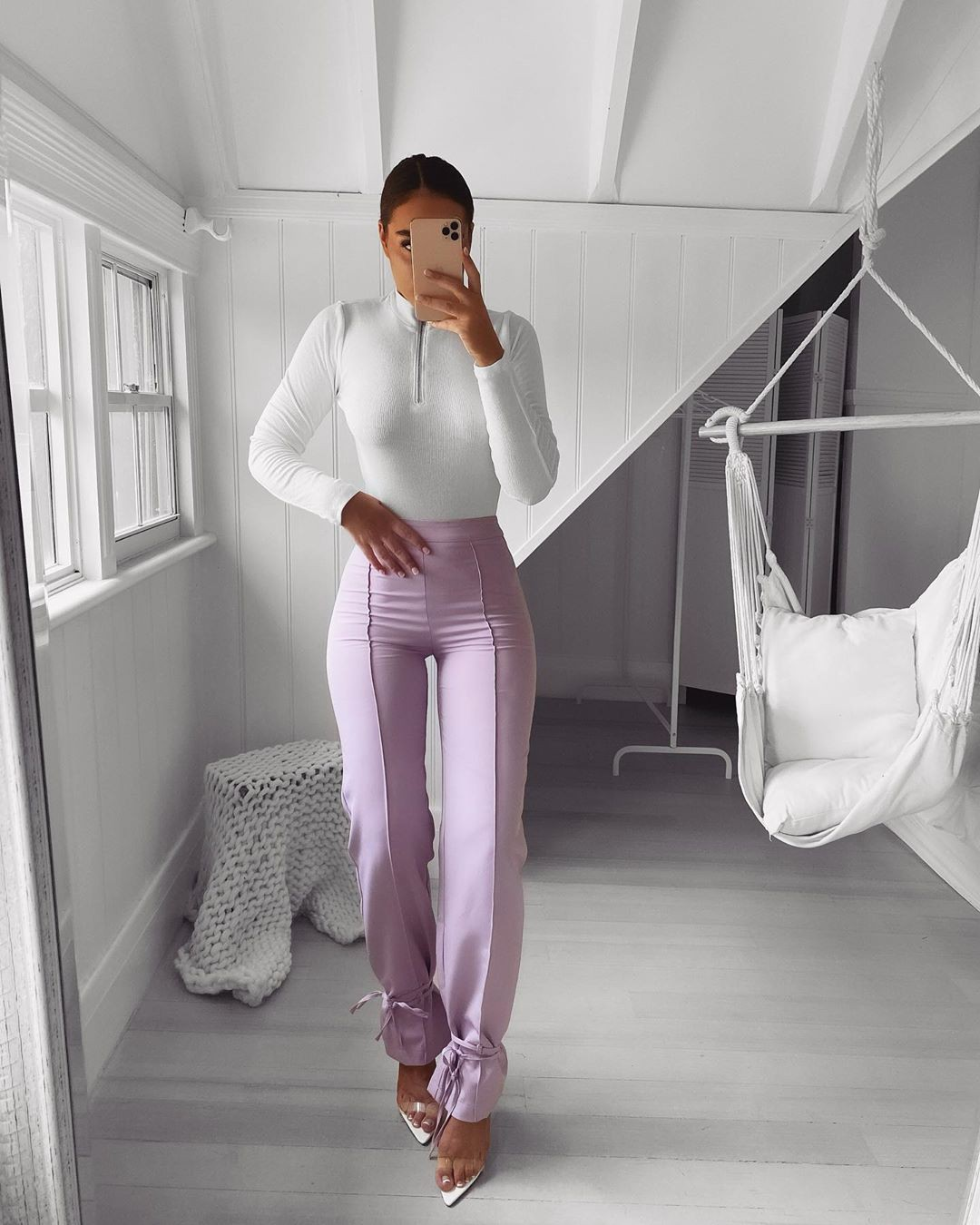 White and pink sportswear, trousers, legs picture